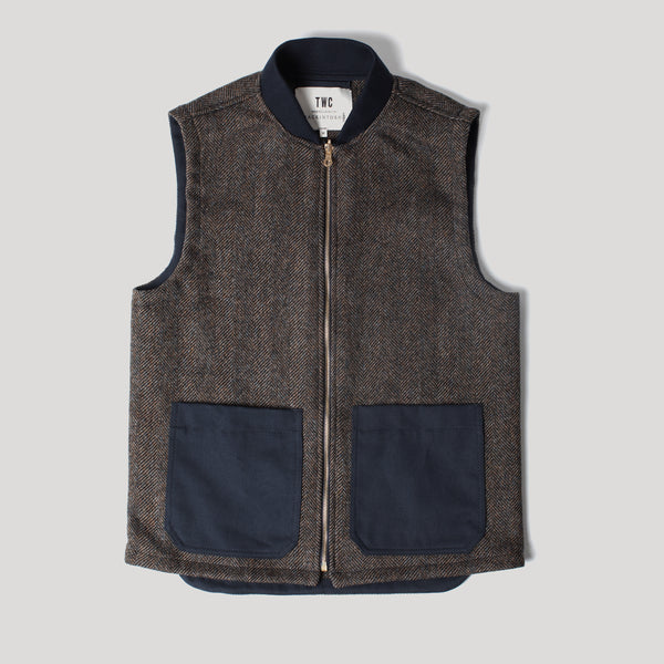 Brown Herringbone Wool Gilet (Made by Mackintosh)
