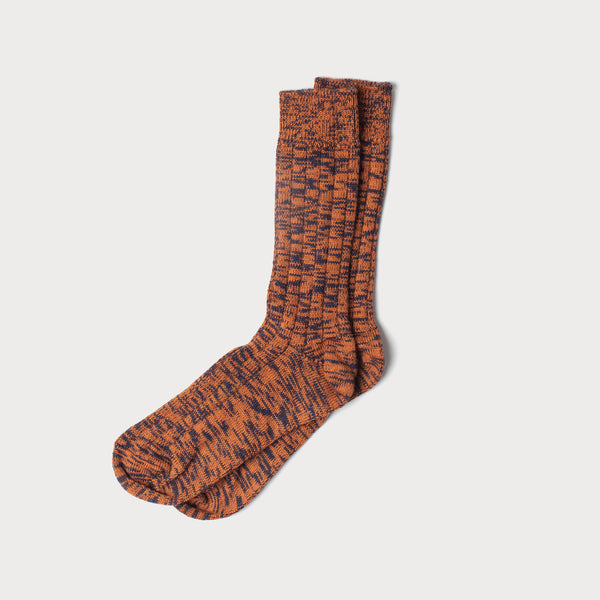 Merino Mix Knit Socks (Orange & Navy)