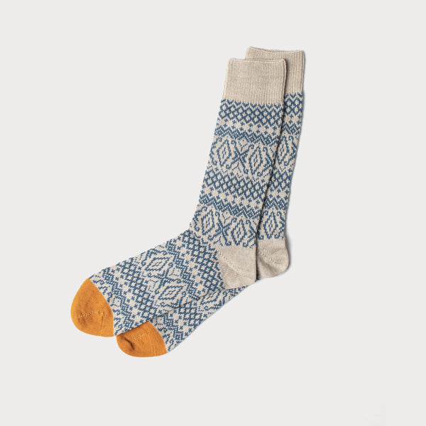 Fairisle Merino Knit Socks (Fawn, Teal & Ochre)