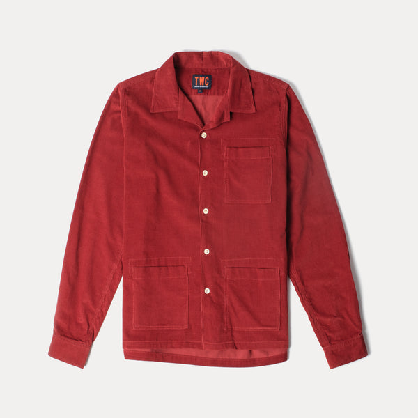 Mens Cord Camp Collar Shirt (Red)