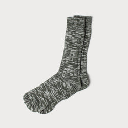 Merino Mix Knit Socks (Green & White)