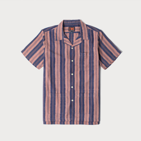 Camp Collar Short Sleeve Shirt (Ikat Stripe)
