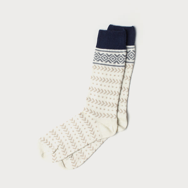 Fairisle Merino Knit Socks (Cream, Fawn & Navy)