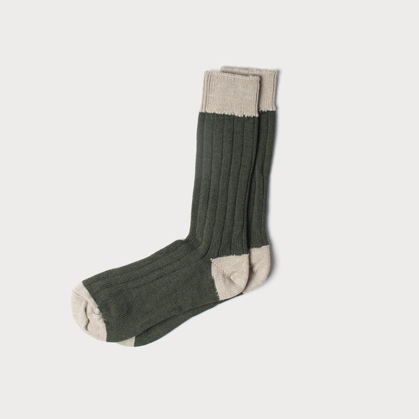 Merino Wool Socks (Lovat & Cream)