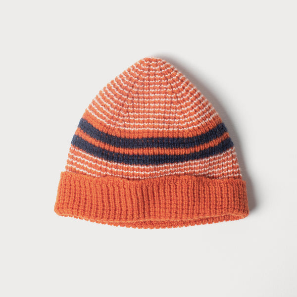 Beanie - Extra Fine Merino Wool in Orange, Navy & White Stripes