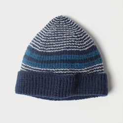 Beanie - Extra Fine Merino Wool in Navy, Cream and Teal Stripe
