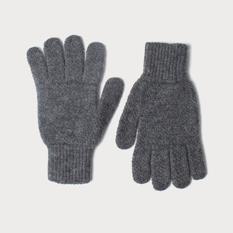 Mens Merino Wool Knitted Gloves (Charcoal Grey)