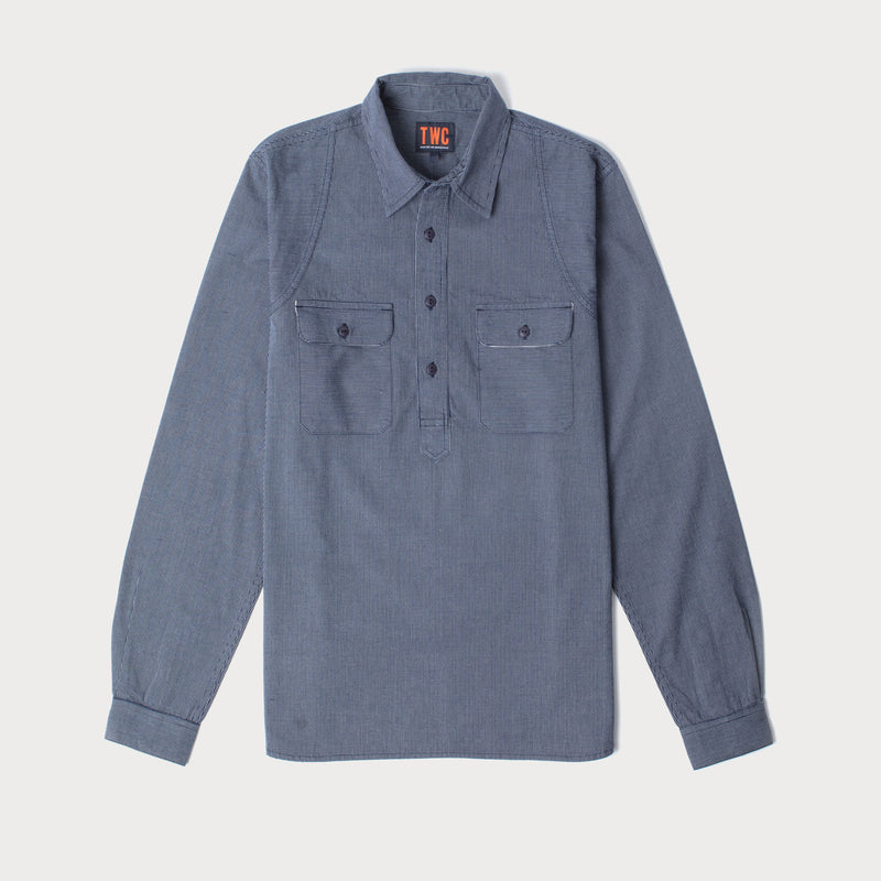 Mens Popover Railway Stripe Shirt (Dark Blue)