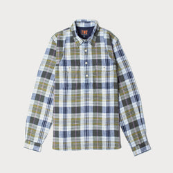 Mens Popover Check Shirt ( Navy & Green)