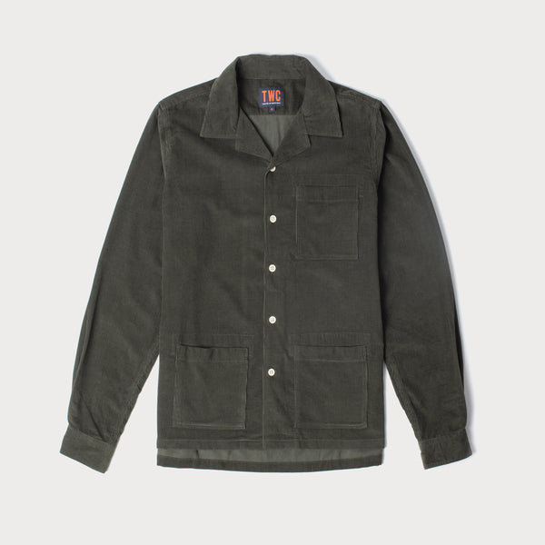 Mens Cord Camp Collar Shirt (Olive)