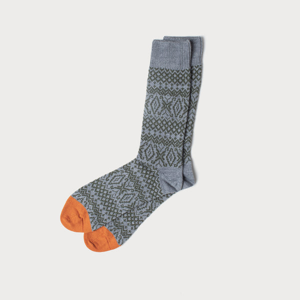 Fairisle Merino Knit Socks (Grey, Green & Olive)