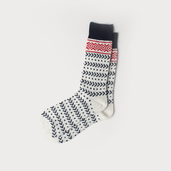 Fairisle Merino Knit Socks (Cream,Red & Navy)