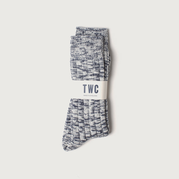 Merino Mix Knit Socks (Navy & White)
