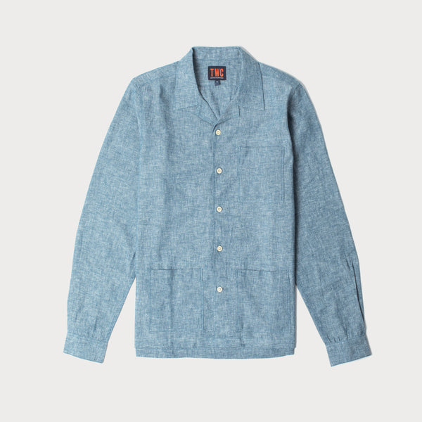 Mens Long Sleeve Camp Collar Shirt (Chambray)