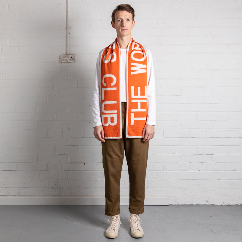 Extra Fine Merino Blend TWC Scarf (Orange & White)