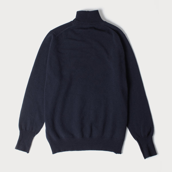 Lambswool Roll Neck Sweater (Navy)