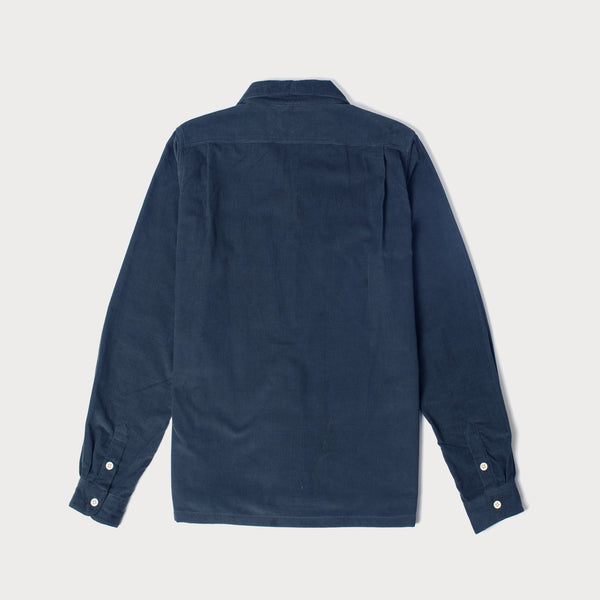 Mens Cord Camp Collar Shirt (Navy)
