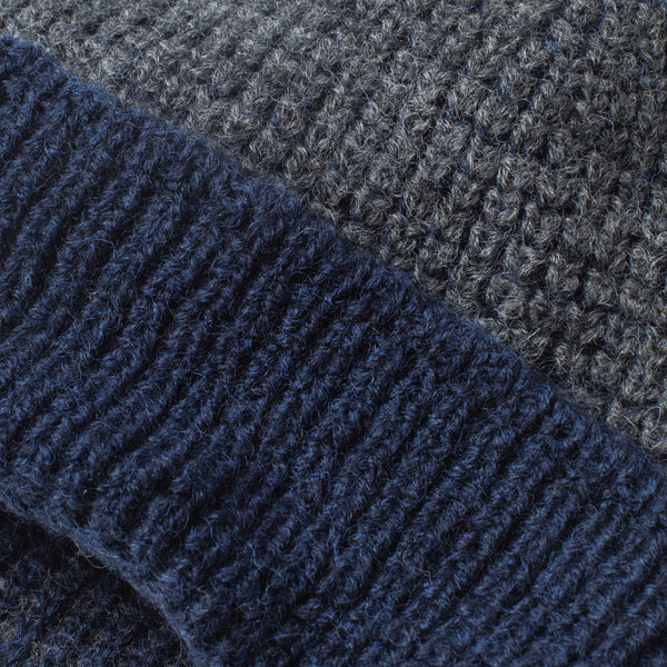 Beanie - Extra Fine Merino Wool in Navy and Grey