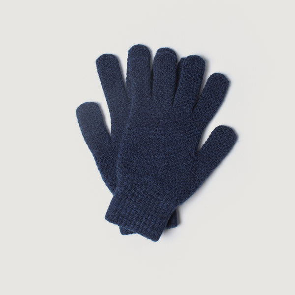 Mens Merino Wool Knitted Gloves (Navy)