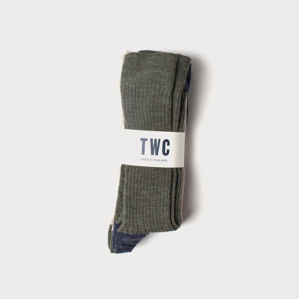 Merino Wool 3 Pack Socks (Taupe, Denim & Olive)
