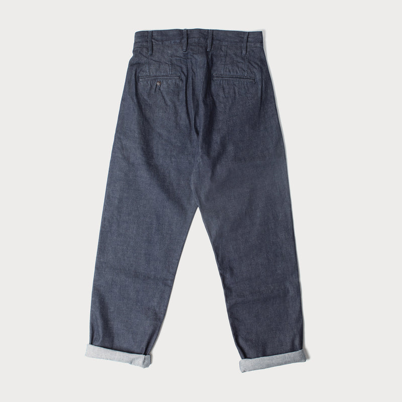 Mens Denim Pleat Front Chino (Rinse Wash Indigo Denim)