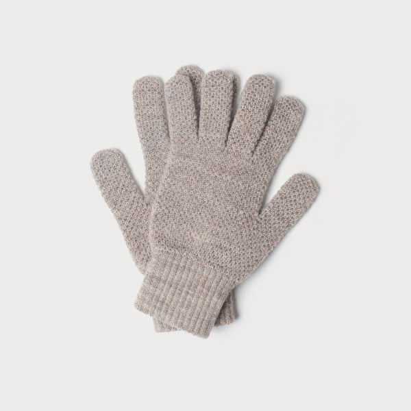 Mens Merino Wool Knitted Gloves (Fawn)