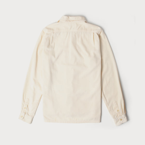 Mens Cord Camp Collar Shirt (Cream)