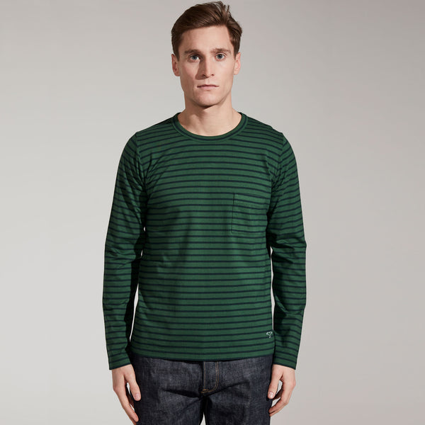 Men's Fine Cotton Long Sleeve T-Shirt (Forest Green / Navy Stripe)