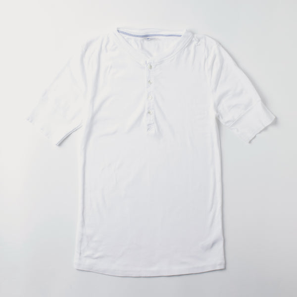 Men's Short Sleeve Henley Karl Heinz T-Shirt - White (made by Schiesser)