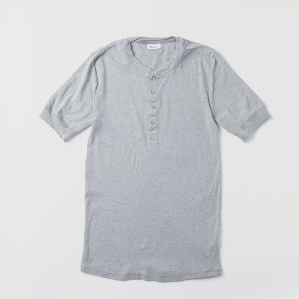 Men's Short Sleeve Henley Karl Heinz T-Shirt - Grey Marl (made by Schiesser)