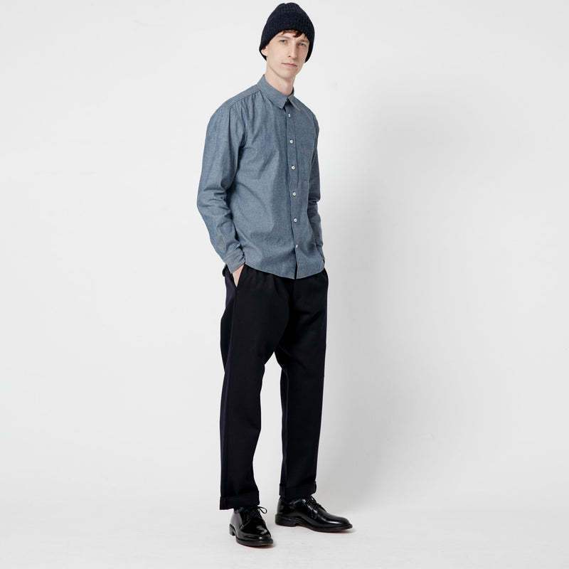 Pleat Front Wool Trouser - Navy