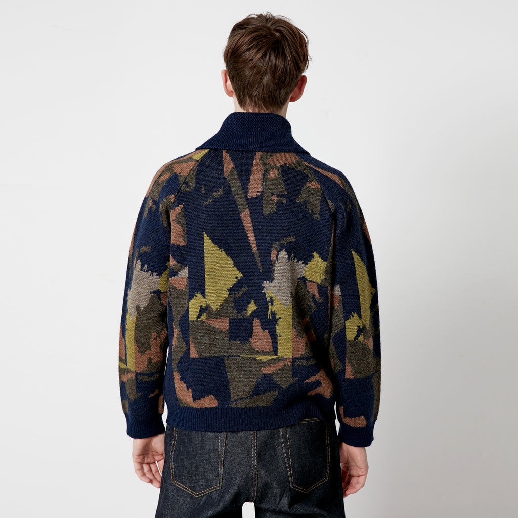 Abstract Camo Zip Thru Cardigan
