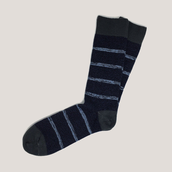 Combed Cotton Socks (Random Stripe Blue Melange / Charcoal)