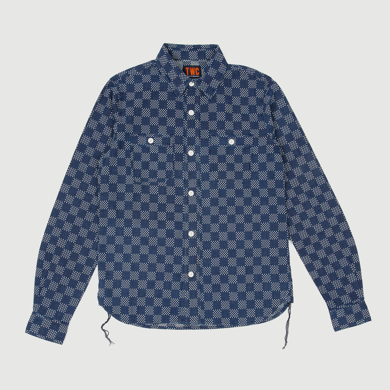 Men's Sashiko Embroidered Shirt (Japanese Indigo)