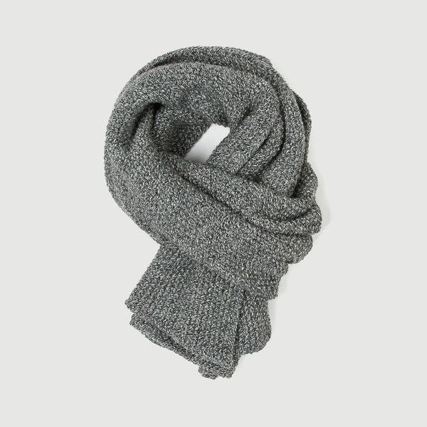 Grey Tweed Moss Stitch Scarf