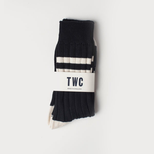 Combed Cotton Socks (Varsity Stripe Black / Off White)