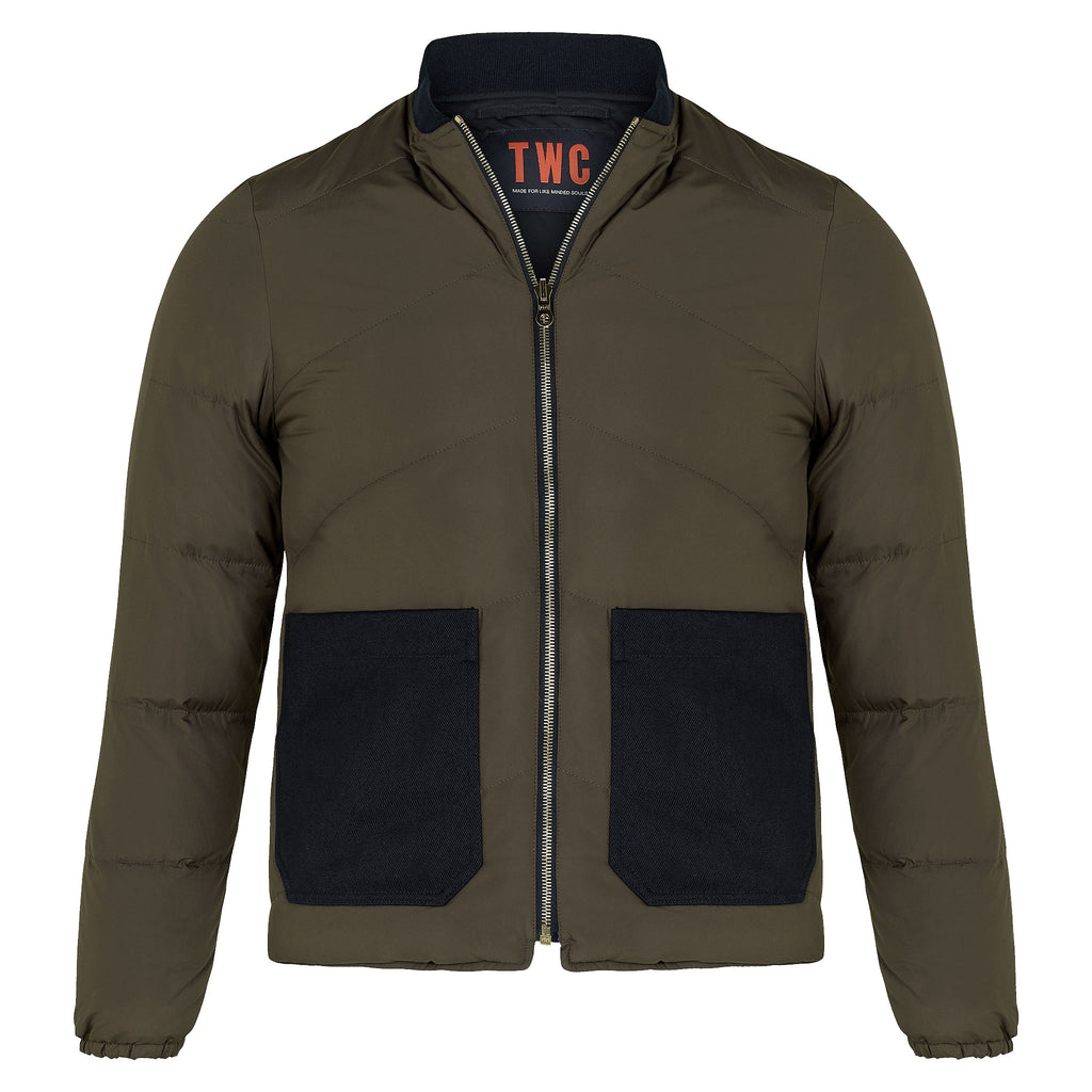Men's Reversible Down Filled Bomber Jacket (Olive / Navy)