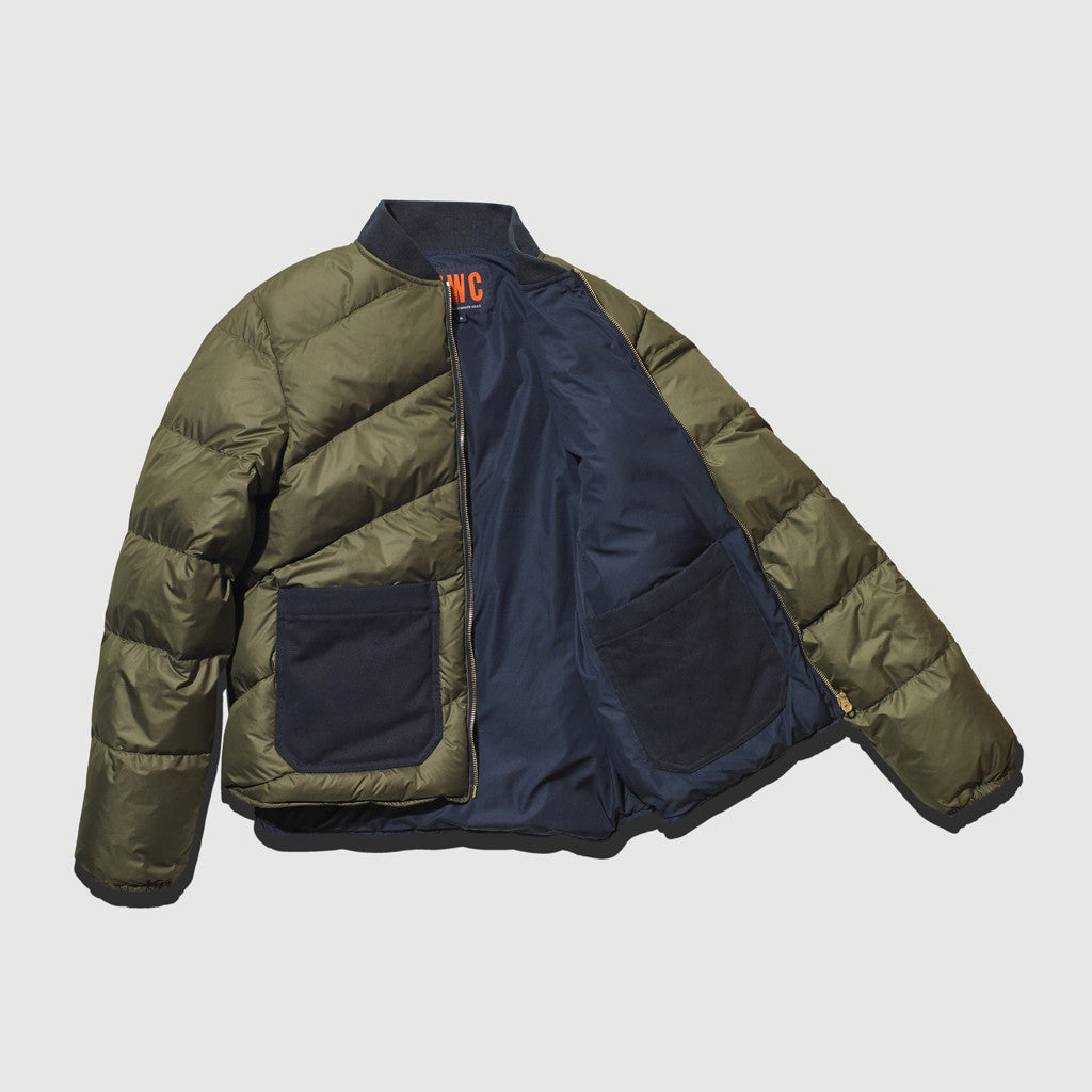 Women's Reversible Down Filled Bomber Jacket (Olive / Navy)