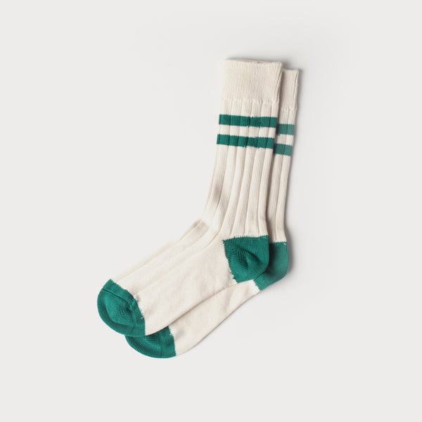 Combed Cotton Socks (Varsity Stripe White / Forest Green)