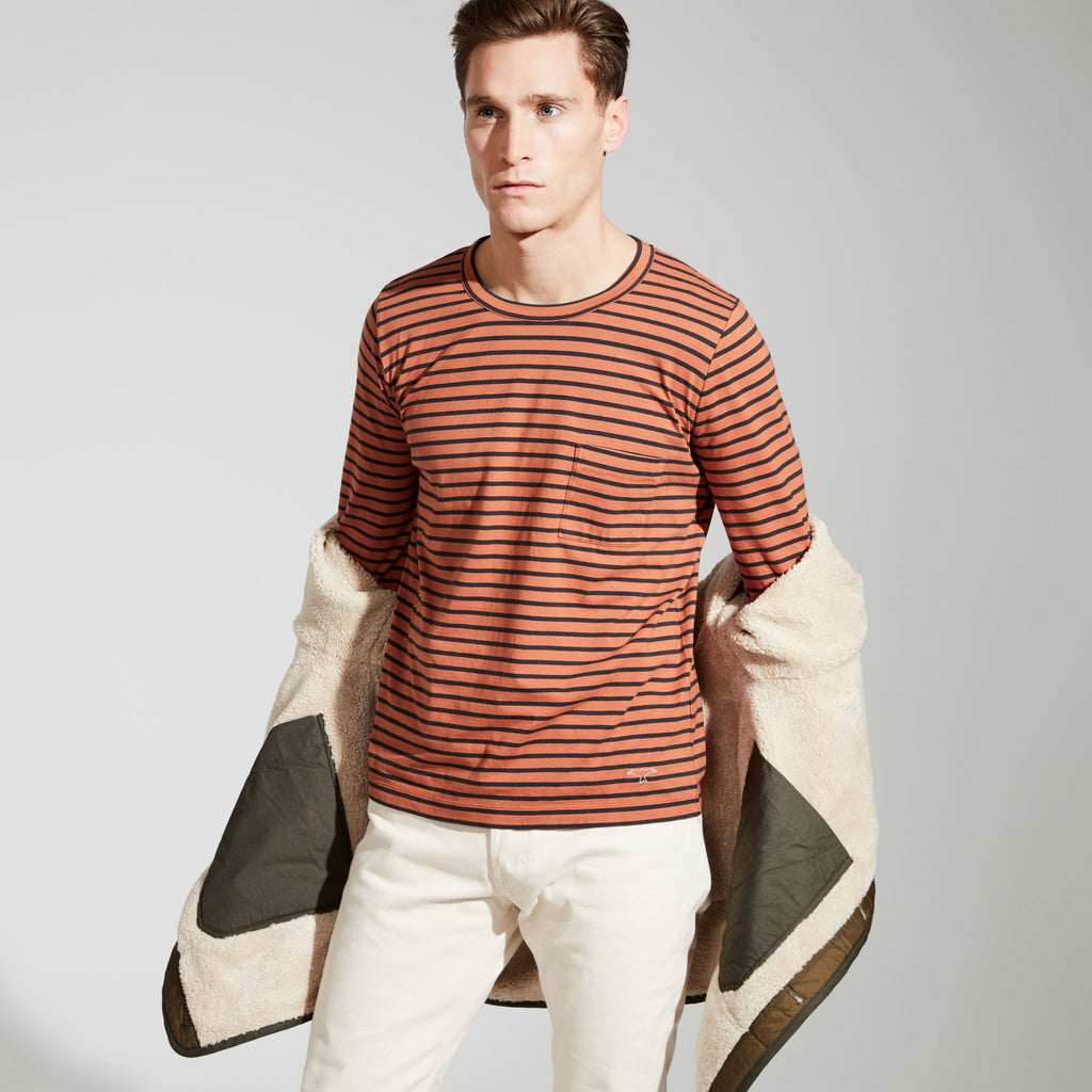 Men's Fine Cotton Long Sleeve T-Shirt (Burnt Orange / Navy Stripe)