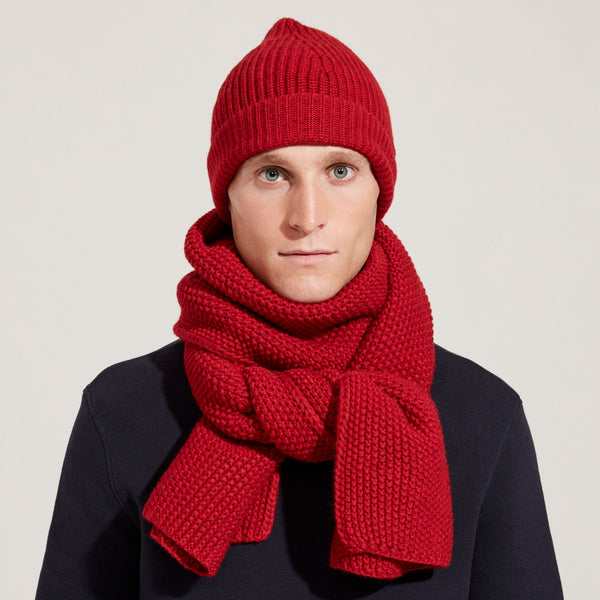 Merino Moss Stitch Scarf (Red)