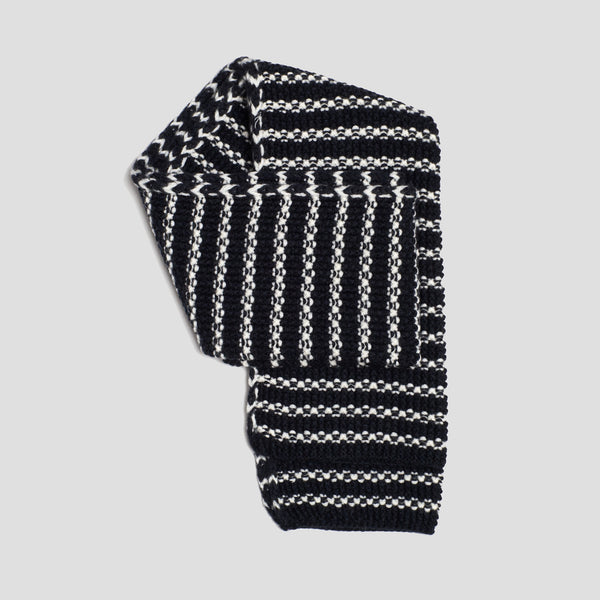 Merino Moss Stitch Scarf (Stripe Navy / Cream)