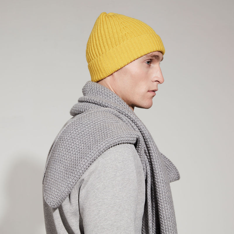 Merino Moss Stitch Scarf (Light Grey Marl)