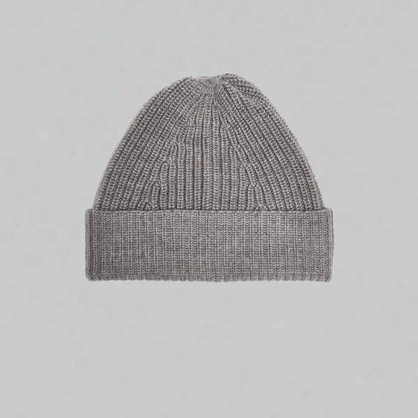 Merino Tuck Rib Beanie (Light Grey Marl)