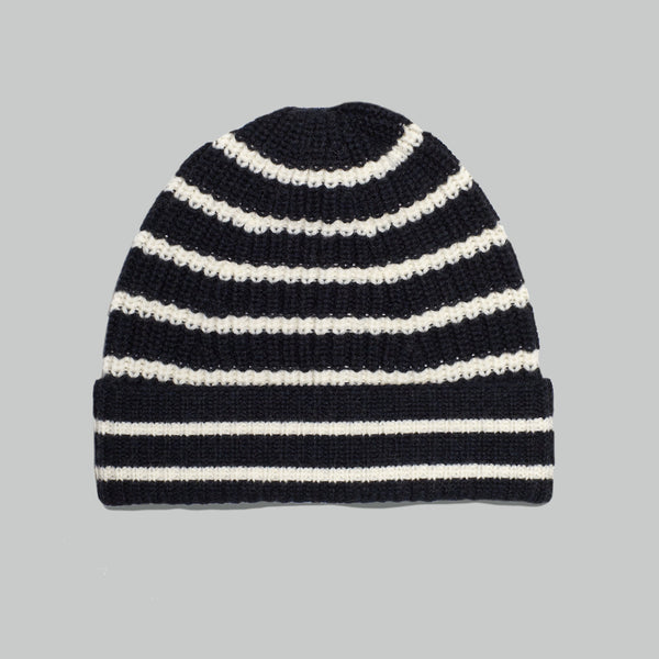 Merino Tuck Rib Beanie (Stripe Navy / Cream)