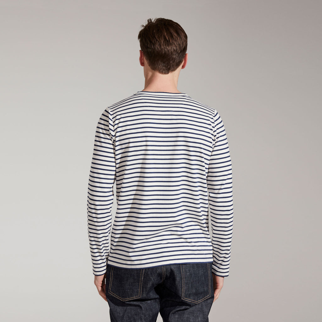 Men's Fine Cotton Long Sleeve T-Shirt (White / Navy Stripe)