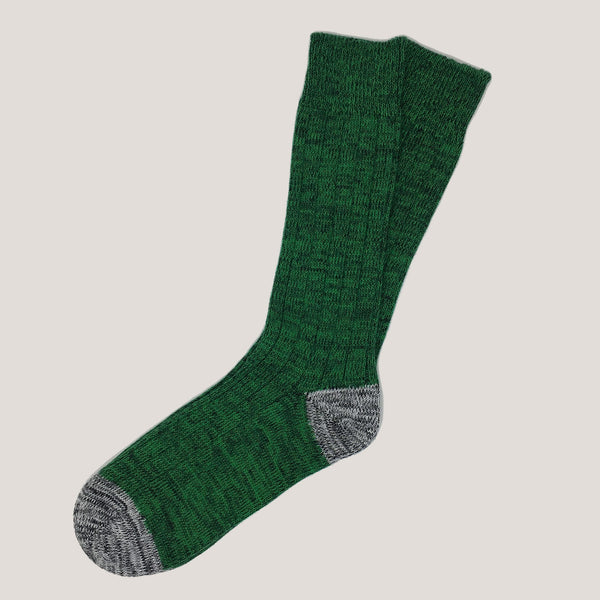 Chunky Cotton Socks (Green & Black Mix with contrast Grey)