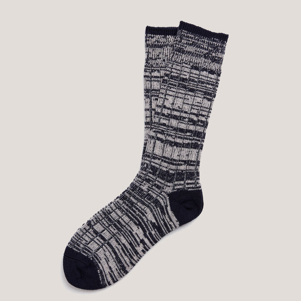 Merino Knit Socks (Navy Grey Mix)