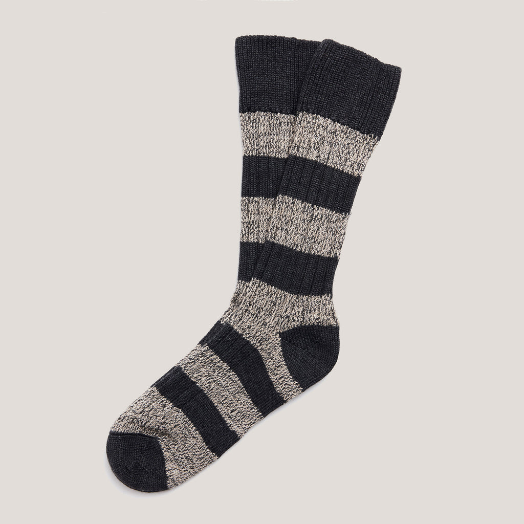 Merino Wool Socks (Charcoal Mix Stripe)