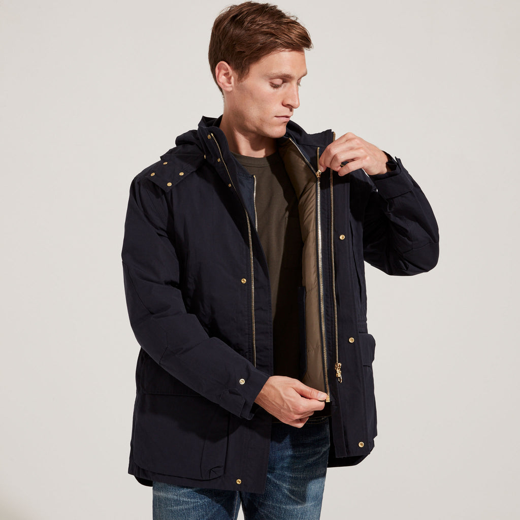 Reversible Olive & Navy Bomber Jacket zipped into Navy Shell for added warmth.